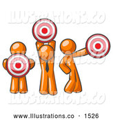 Royalty Free Stock Illustration of a Group of Three Orange Men Holding Bullseye Red Targets in Different Positions by Leo Blanchette
