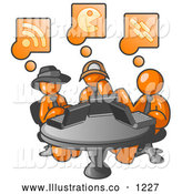 Royalty Free Stock Illustration of a Group of Three Orange Men Using Laptops in an Internet Cafe by Leo Blanchette