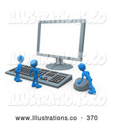 Royalty Free Stock Illustration of a Group of Tiny People at a Computer Keyboard and Looking up at a Flat Screen Lcd Monitor Screen While One Person Operates the Mouse by 3poD