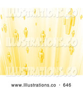 Royalty Free Stock Illustration of a Group of Yellow Business People or Souls Heading to Heaven by AtStockIllustration
