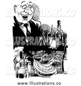 Royalty Free Stock Illustration of a Happy Black and White Man Feasting by Alex Bannykh
