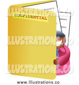 Royalty Free Stock Illustration of a Happy Black Businessman Standing in a Large Folder by Prawny