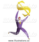 Royalty Free Stock Illustration of a Happy Businessman Holding up a Dollar Symbol by Prawny