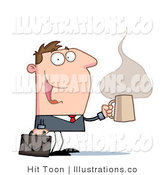 Royalty Free Stock Illustration of a Happy Businessman with a Briefcase and Cup of Hot and Steamy Caffeinated Coffee, Heading to His Office by Hit Toon