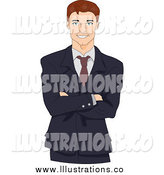 Royalty Free Stock Illustration of a Happy Caucasian Executive Businessman with Folded Arms by BNP Design Studio