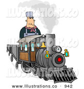Royalty Free Stock Illustration of a Happy Caucasian Male Train Engineer Driving and Operating a Train by Djart