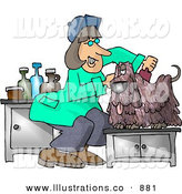 Royalty Free Stock Illustration of a Happy Dog Groomer Cutting and Combing a Small Dog's Hair by Djart