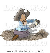 Royalty Free Stock Illustration of a Happy Mexican Gold Miner Finding Gold Nuggets While Panning Through Dirt by Dennis Cox