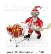 Royalty Free Stock Illustration of a Happy Santa Claus Reading a Very Long List and Purchasing Christmas Presents While Pushing a Shopping Cart in a Store by 3poD