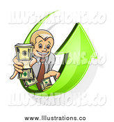 September 17th, 2014: Royalty Free Stock Illustration of a Happy White Business Man Holding Bundled Cash on a Green Arrow by Vector Tradition SM