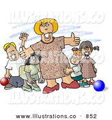 Royalty Free Stock Illustration of a Happy Woman Standing with a Group of Children at a Daycare by Djart