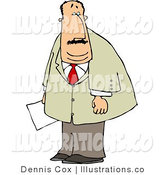 Royalty Free Stock Illustration of a Heavyset Businessman Holding a Document in His Hand by Djart
