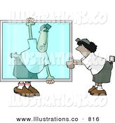 Royalty Free Stock Illustration of a Helpful Apprentice Glazier Carrying a Big Glass Window by Dennis Cox