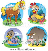 March 7th, 2014: Royalty Free Stock Illustration of a Horse, Chicken, Duck and Angry Bull by Visekart