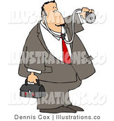 Royalty Free Stock Illustration of a House Call Male Doctor with a Medical Bag and Stethoscope by Djart