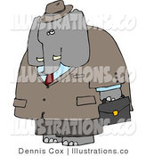 Royalty Free Stock Illustration of a Human-like Male Business Elephant Carrying a Briefcase While Going to Work by Djart