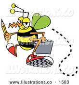 November 13th, 2013: Royalty Free Stock Illustration of a Hurrying Busy Bee Carrying a Pencil and Briefcase While Flying to Work by Andy Nortnik