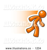Royalty Free Stock Illustration of a Hurrying Speedy Orange Business Man Running by Leo Blanchette