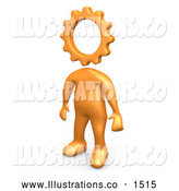 Royalty Free Stock Illustration of a Imagination Creative Cog Headed Orange Person by 3poD