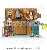 Royalty Free Stock Illustration of a Judge, Witness, Stenographer, and Lawyer in a Courtroom, Working on a Case by Djart