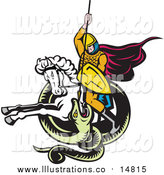 Royalty Free Stock Illustration of a Knight on Horseback Spearing a Snake by Patrimonio