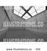Royalty Free Stock Illustration of a Large, Empty and Open Chrome Futuristic Office Suite by 3poD