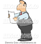 Royalty Free Stock Illustration of a Lawyer Reading an Important Legal Document in His Hands by Djart