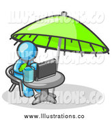 Royalty Free Stock Illustration of a Light Blue Business Man Sitting Under an Umbrella at a Table Using a Laptop Computer by Leo Blanchette