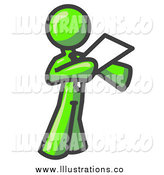 Royalty Free Stock Illustration of a Lime Green Business Man Giving a Speech by Leo Blanchette