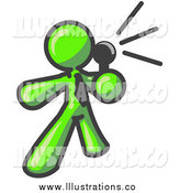 Royalty Free Stock Illustration of a Lime Green Man Making an Announcement by Leo Blanchette
