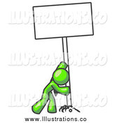 Royalty Free Stock Illustration of a Lime Green Man Pushing a Blank Sign Upright by Leo Blanchette