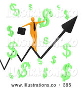 November 11th, 2013: Royalty Free Stock Illustration of a Line Graph Through Floating Green Dollar Symbols by 3poD