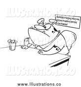 Royalty Free Stock Illustration of a Lineart Boss Dog Sitting at His Desk by Toonaday