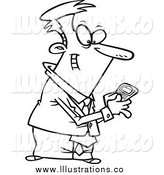 Royalty Free Stock Illustration of a Lineart Businessman Using a Smart Phone by Toonaday