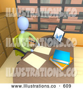 Royalty Free Stock Illustration of a Lonely Businessperson Seated in a Chair at Their Desk by a Laptop Computer, Working on Paperwork in a Highrise Office in the City by 3poD