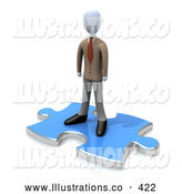November 7th, 2013: Royalty Free Stock Illustration of a Lonely Person Standing on a Blue Puzzle Piece, Symbolizing the Missing Piece to a Puzzle, Someone Coming in to Solve Problems, Etc by 3poD