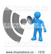 Royalty Free Stock Illustration of a Loud Blue Person Shouting Through a Megaphone with Sound Waves by 3poD