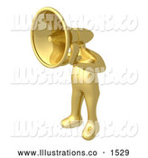 Royalty Free Stock Illustration of a Loud Gold Person with a Megaphone Head Shouting Orders or Announcements by 3poD