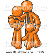 Royalty Free Stock Illustration of a Loving Orange Family Man, a Father, Hugging His Wife and Two Children by Leo Blanchette