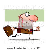 November 13th, 2013: Royalty Free Stock Illustration of a Lucky Professional Businessman in Brown, Carrying a Leather Briefcase and Walking to the Office by Hit Toon