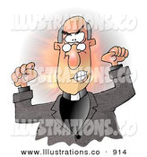 Royalty Free Stock Illustration of a Mad Bald Preacher Throwing a Temper Tantrum in Church by Djart