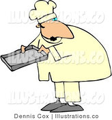 Royalty Free Stock Illustration of a Male Baker Holding a Baking Tray by Djart