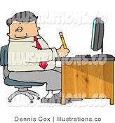 Royalty Free Stock Illustration of a Male Businessperson Filling out Paperwork at Wood Computer Desk in His Office by Djart