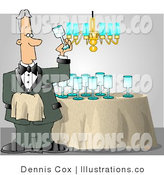 Royalty Free Stock Illustration of a Male Butler Cleaning and Polishing Wine Glasses with a Cloth by Djart