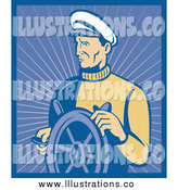 Royalty Free Stock Illustration of a Male Captain with a Ship Helm by Patrimonio