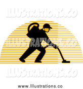 March 12nd, 2015: Royalty Free Stock Illustration of a Male Carpet Cleaner over a Lined Half Circle by Patrimonio