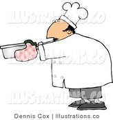 Royalty Free Stock Illustration of a Male Chef in Cook's Whites Wearing Oven Mitts and Holding a Hot Pot by Djart