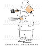 Royalty Free Stock Illustration of a Male Chef in Uniform Holding a Skillet and Spatula by Djart