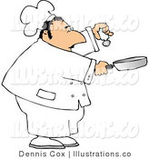 Royalty Free Stock Illustration of a Male Chef Shaking Salt into a Skillet by Djart