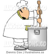 Royalty Free Stock Illustration of a Male Chef Stirring a Large Pot of Soup with a Wooden Spoon by Djart